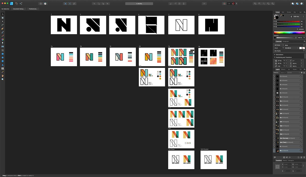 Ein Screenshot von meinen digitalen Umsetzungen des Buchstabens N in Farbe