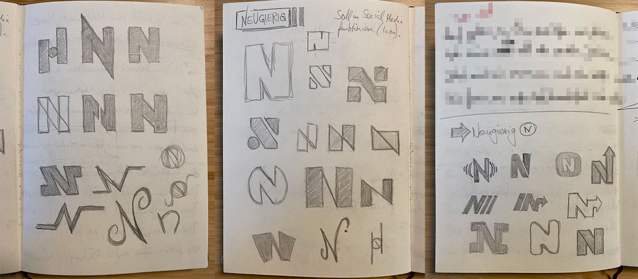 Fotos aus meinem Skizzenbuch, die den Buchstaben N in verschiedenen Abwandlungen mit Bleistift skizziert zeigen