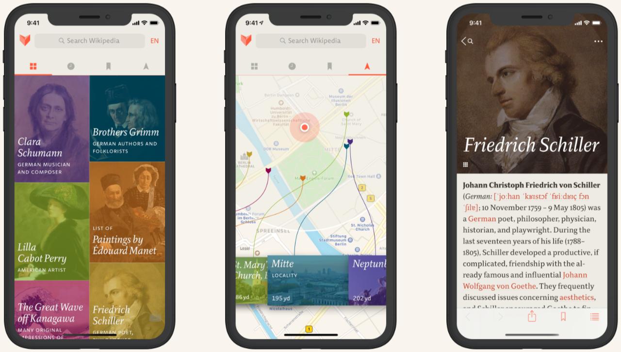 Man sieht drei Mobiltelefone, die die Hauptbildschirme der App V for Wiki zeigen